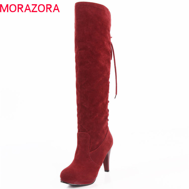 MORAZORA 2018 wholesale boots women sexy high heels platform shoes lace up fashion knee high boots round toe autumn boots mcckle women jelly shoes rianbow summer sandals female flat shoe casual ladies slip on woman candy color peep toe beach shoes
