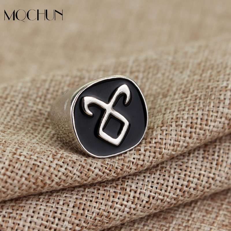 Hot Sale The Mortal Instruments City Of Bones Angelic Power Rune Rings Vintage Alloy Metal Ring With Black Enamel Simple