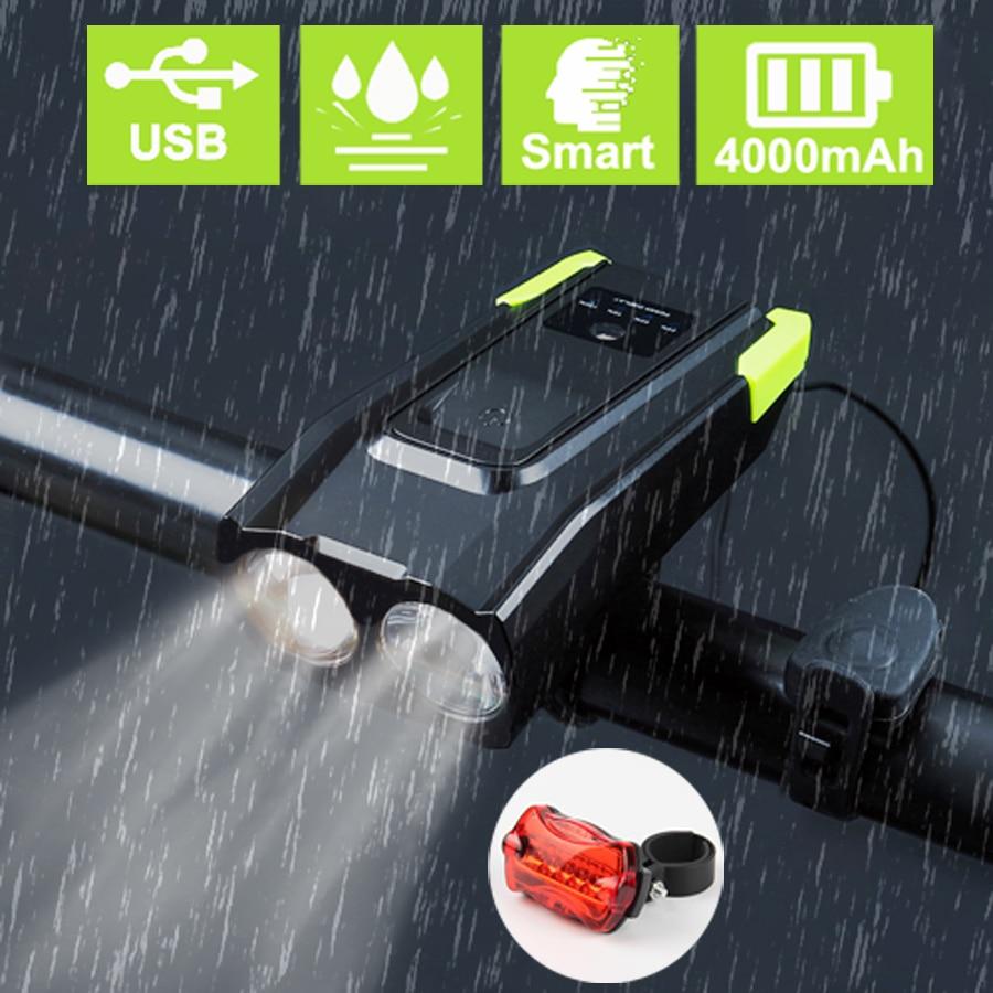 4000 mAh de bicicleta luz delantera de la bicicleta de USB recargable inteligente faro con cuerno 800 Lumen LED lámpara de bicicleta ciclo linterna
