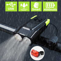 4000mAh Induction Bicycle Front Light Set USB Rechargeable Smart Headlight With Horn 800 Lumen LED Bike Lamp Cycle FlashLight