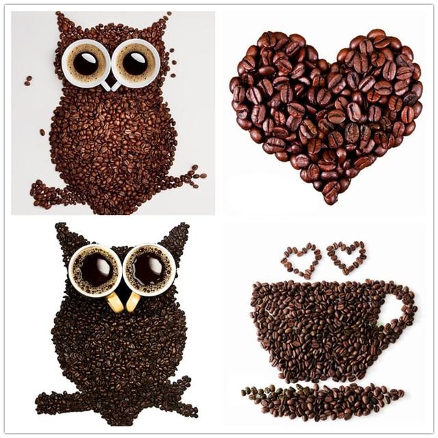 Coffee Beans Owl D Diy Diamond Painting Diy Diamond Painting Home Decoration Owl Wall Stickers