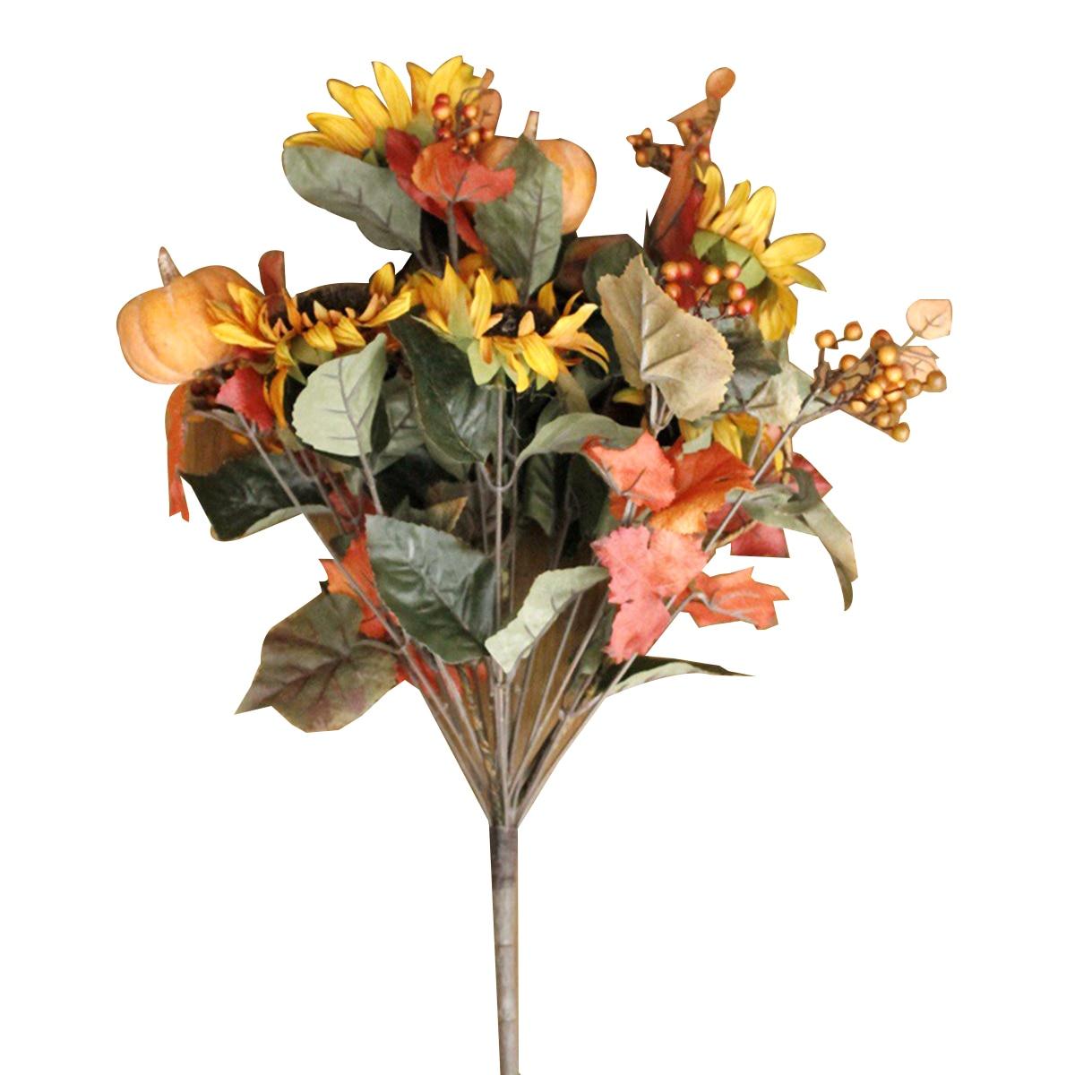 Pumpkin Sunflower & Berry Artificial Flower Bouquet Flower Bundle For Halloween Home Office Garden Patio Decoration