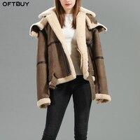 OFTBUY 2019 зимняя куртка женская натуральная меховая шуба двусторонний мех куртка из натуральной кожи натуральный овечий мех капюшон толстый т