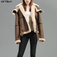 OFTBUY 2019 Winter Jacket Women Real Fur Coat Double faced Fur Real Leather Coat Natural Sheep Fur Hood Thick Warm Streetwear