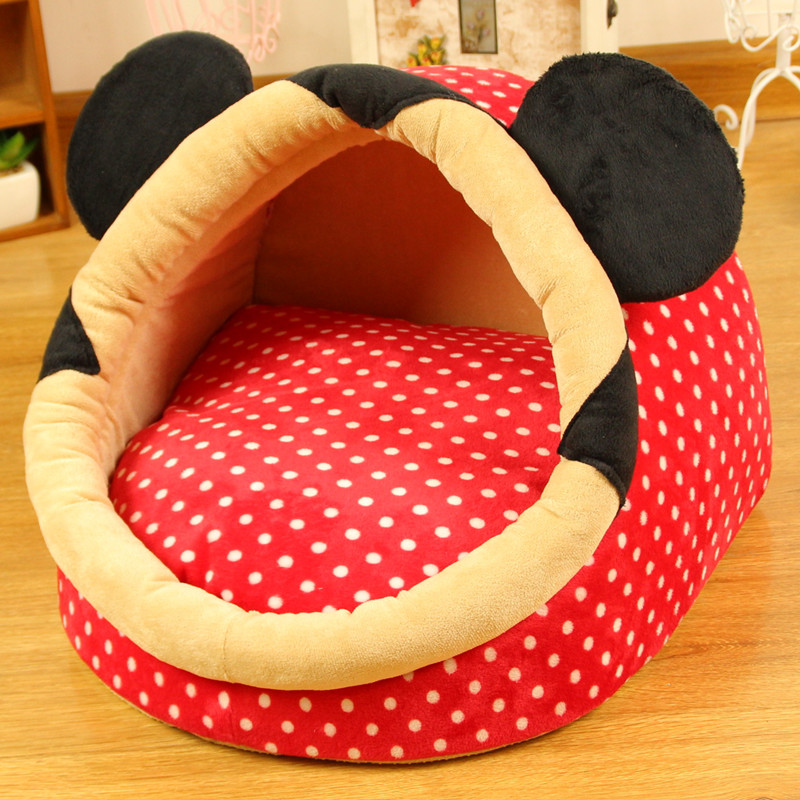 Pet Bed Dog House Luxury 2017 Hot Super Cute Beds Cat Nest Washable Puppy Princess Polka Dot Cartoon Mouse In Houses Kennels Pens From Home