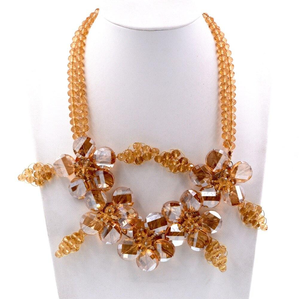 Noble femme bijoux classique Champagne cristal fleur collier ras du cou femmes cadeau fête