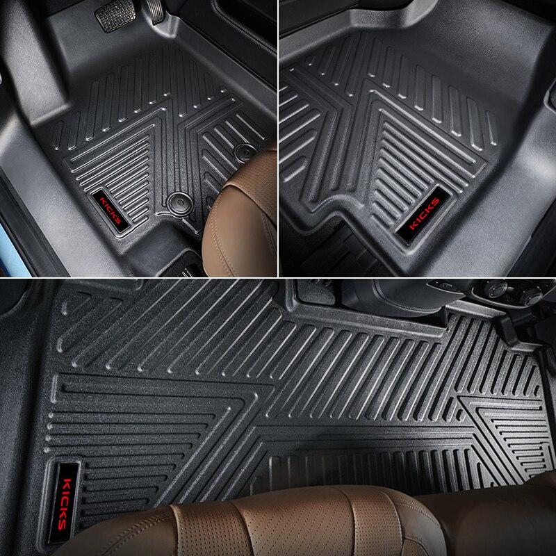 1set Car Floor Mats For Nissan Kicks 2017-2019 TPE Carpet Foot Boot Liner Mat