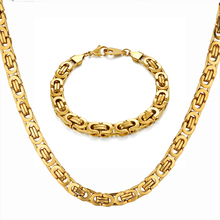 Hip Hop Byzantine Box Chain Set Gold Color Solid Stainless Steel Jewelry Sets For Men/Women 2019 Hot Sale RU Necklace & Bracelet