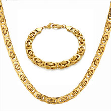 Hip Hop Byzantine Box Chain Set Gold Color Solid Stainless Steel Jewelry Sets For Men/Women 2019 Hot Sale RU Necklace & Bracelet(China)