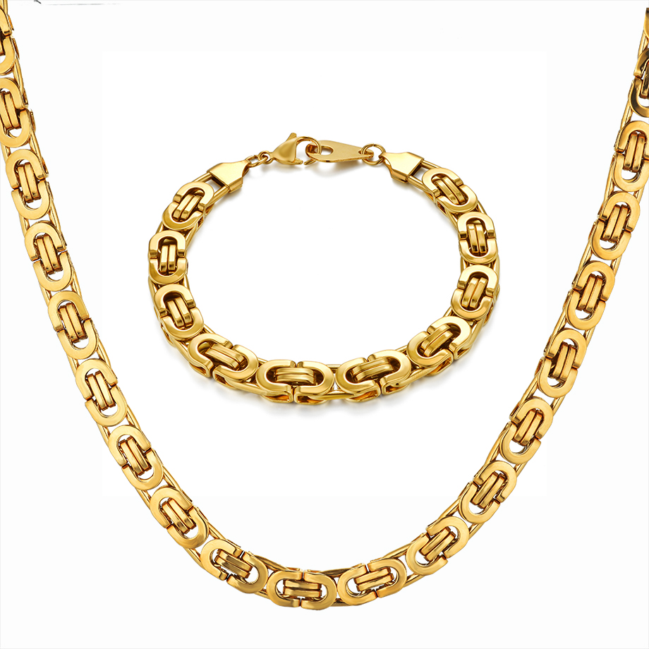 Hip Hop Byzantine Box Chain <font><b>Set</b></font> Gold Color Solid Stainless Steel <font><b>Jewelry</b></font> <font><b>Sets</b></font> <font><b>For</b></font> Men/Women <font><b>2019</b></font> Hot Sale RU Necklace & Bracelet image