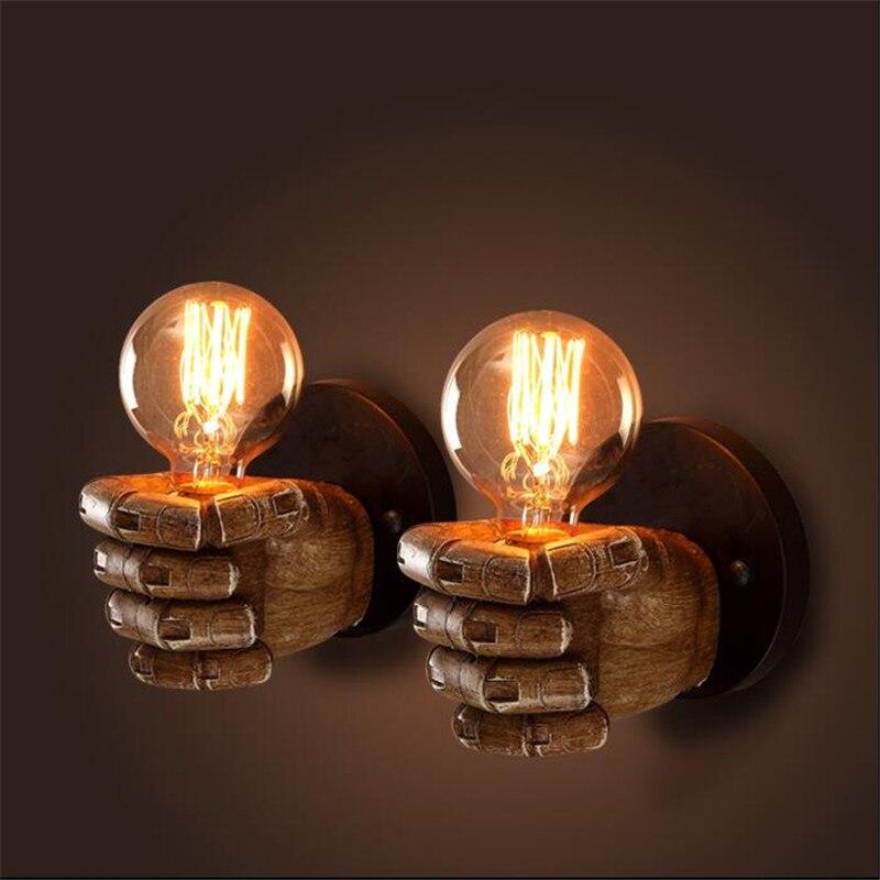 ФОТО Creative Hand Engraved Vintage Fist Design Resin Led E27 Wall Lamp for Aisle Balcony Restaurant Bar AC 80-265V 2187