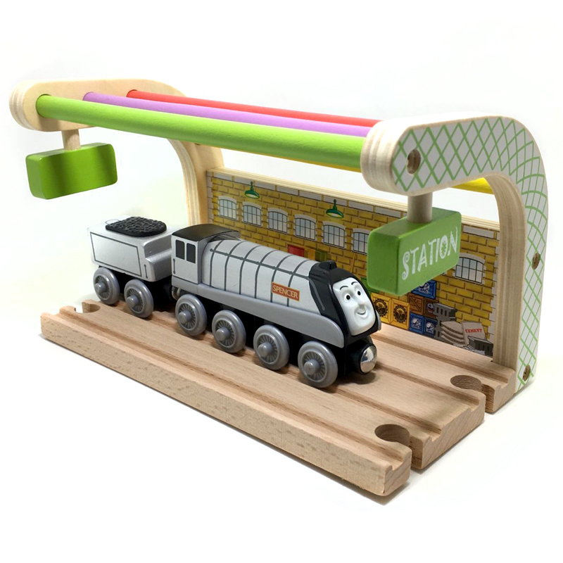Special offer Multicolored Double track station and spencer wooden train compatible with Thomas and Brio Wooden train track