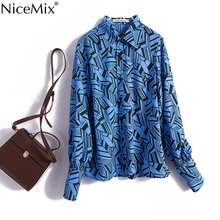 NiceMix 2019 Spring Women Geometric Printed Blue Color Block Shirts Ladies Elegant Long Sleeve Blouses