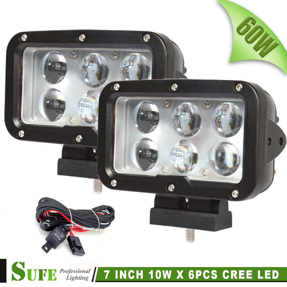 ФОТО SUFE 2016 NEW 2PCS 7 INCH 60W LED DRIVING LIGHT FOR OFFROAD TRUCKS 4X4 MACHINERY 4WD ATV SUV USE Free Wire Harness