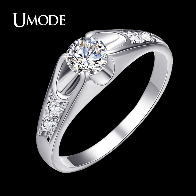 UMODE Fahsion Rose Gold Color Wedding Rings for Women Engagement Ring With Top Grade AAA CZ Crystal Lovely Bague Femme AJR0064