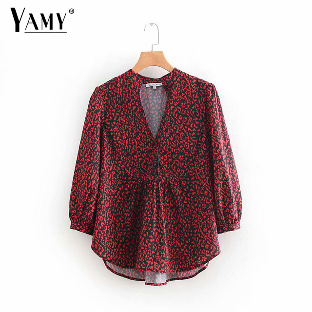 Vintage red V neck leopard print blouse animal pattern long sleeve pleated  shirts female Korean casual retro tops blusas mujer e4719e25b