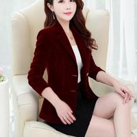 Velvet Blazer Jacket Women Warm Ladies Blazer Coat suit plus size 3XL