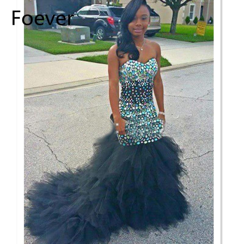 Afrique nigéria noir fille brillant noir sirène robe De bal cristal perles chérie bretelles robe formelle Vestidos De Festa