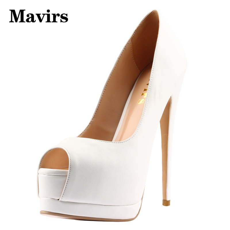 MAVIRS Brand 2018 Sexy Super High Heels Platform Stiletto Women Pumps Open Toe Glitter Pink White Dress Party Wedding Shoes