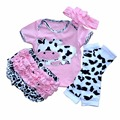 2017 Novas Roupas de Bebê Infantis Calças PP + Faixa de Cabelo + Vacas Projeto T-shirt + Banda Crianças Recém-nascidas roupas de Bebê Meninas do Presente de Aniversário