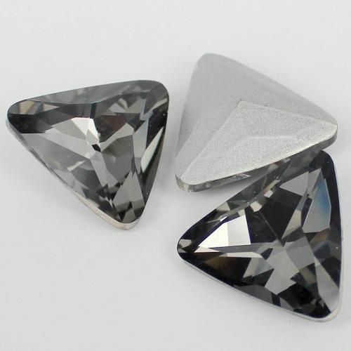 Diamante negro Forma de Triângulo De Cristal Extravagante Stone Point Voltar Vidro Accessory.12mm de Pedra Para A Jóia DIY 18mm 23mm