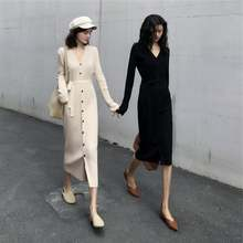 Весеннее Модное Новое однобортное Платье на шнуровке вязаный