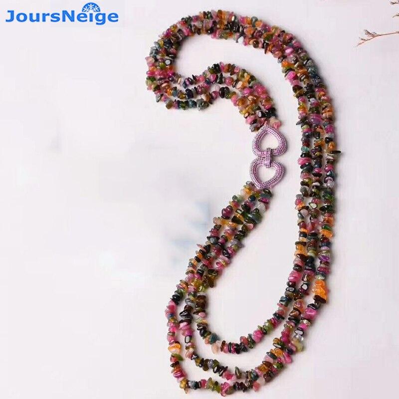 JoursNeige Tourmaline naturelle cristal pierre collier forme perles chandail chaîne collier chanceux pour les femmes fille bijoux populaires