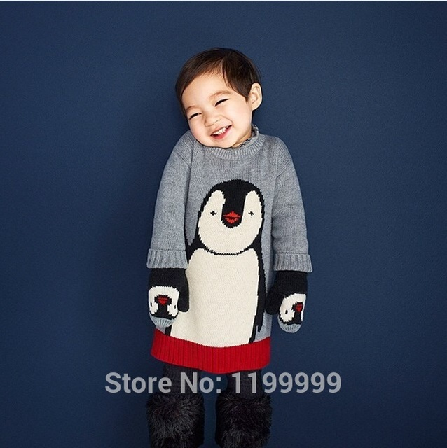 2016 autumn winter kids cartoon penguin thick sweaters baby girl clothes baby boy clothes christmas costume vetement enfant