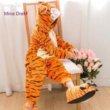 Купить с кэшбэком Kigurumi Kids Tiger onesies Pyjamas Cartoon Animal Cosplay Costume Pajamas Kids Onesies Sleepwear Halloween