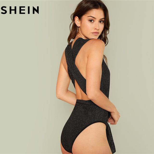 SHEIN Women Sexy Deep V Neck Sleeveless Polka Dot Skinny Bodysuits 2018 Summer High Waist Stretchy Cut Out Front Halter Bodysuit 2