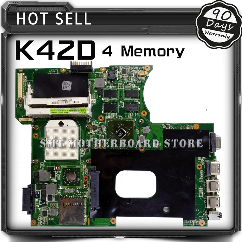 For ASUS K42DR K42D K42DE K42DY A42D X42D 4 Memory 512M Laptop Motherboard System Board Main Board Mainboard Card Logic Board samxinno for asus x751ma motherboard x751md rev2 0 mainboard processor n2830 2g memory on board 100% test