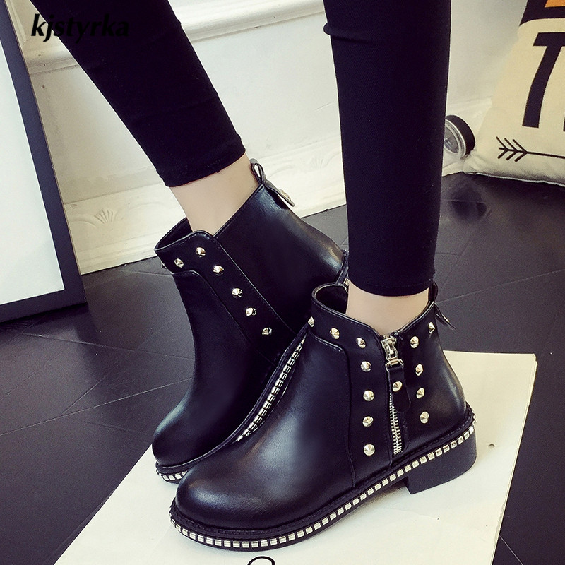 kjstyrka brand design botines mujer 2018 simple comfortable winter keep warm rivets ankle boot women fashion