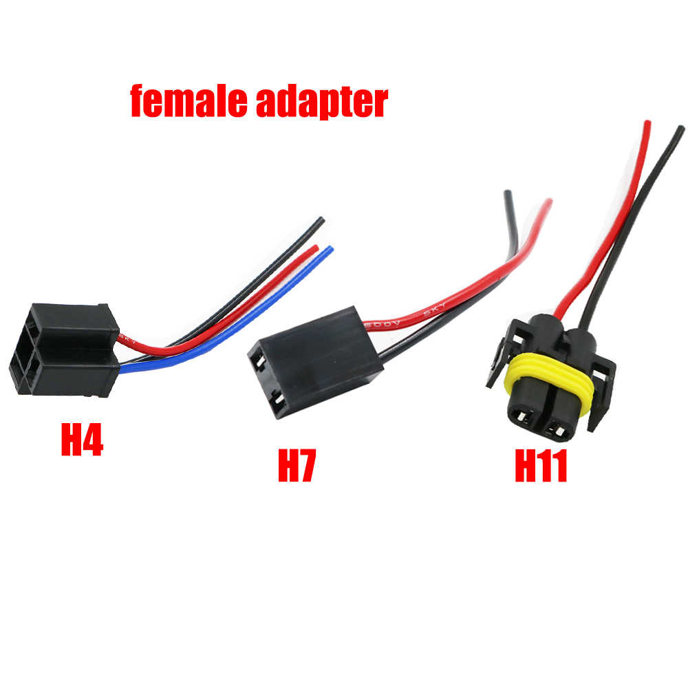 YSY 2pcs H4 H7 H11  Female Adapter Sockets pigtail Harness Plug Connector For H1 H4 H7 halogen   hid led Retrofit