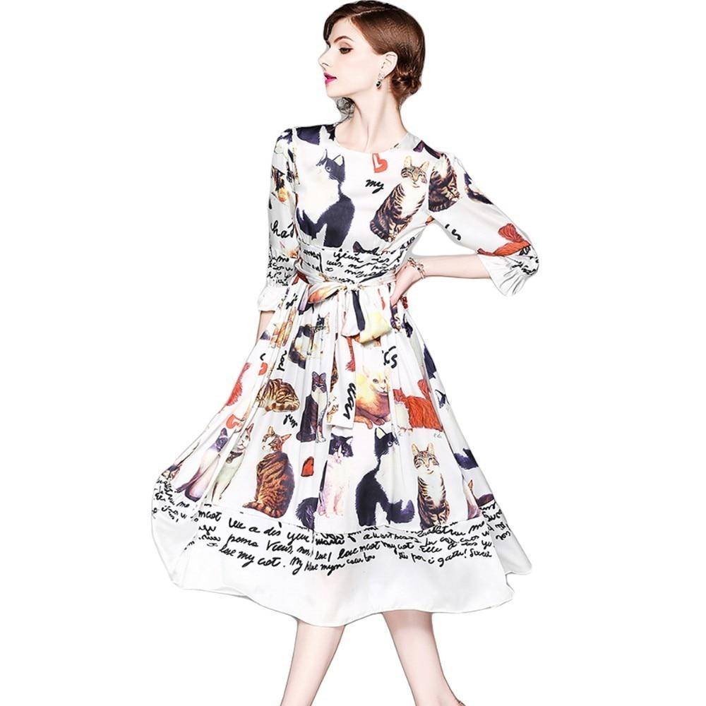 9798f6ebad Zomer Jurk Runway Designer Women White Letters Cats Long Dress Summer  Dresses Casual Zomerjurken 2018 Robe Ete Femme Boho Tunic
