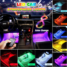 4pcs 12V Multicolor Music Car Interior LED Strip Atmosphere Lights Sound Active Function Wireless Remote Control Accessories