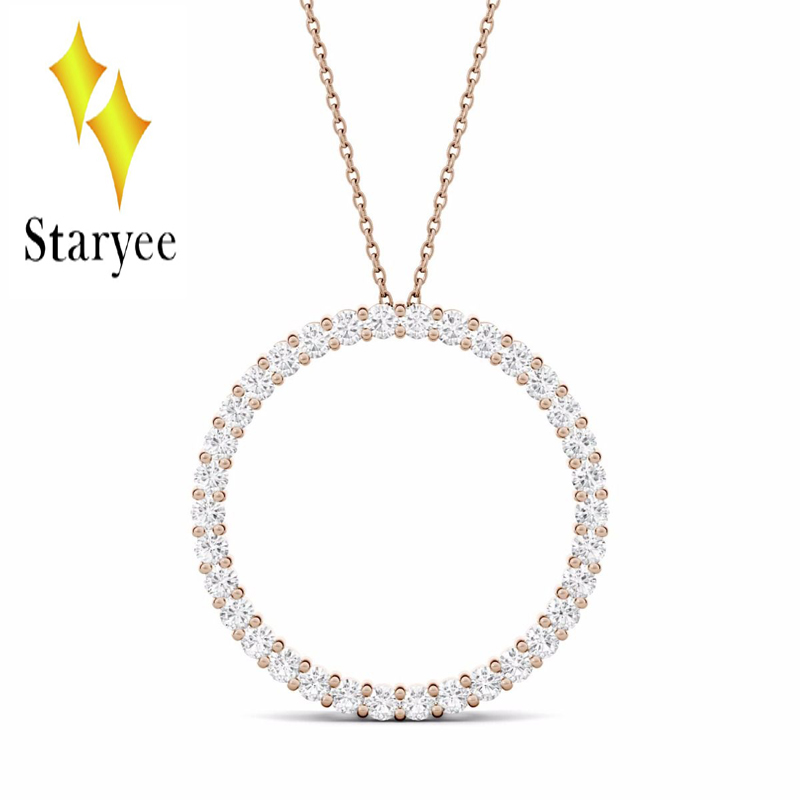 18K 750 Rose Gold Pendant GH Color Round Brilliant Lab Grown Moissanite Diamond Trendy Pendant Necklace for Women Fine Jewelry bk 4371 18k alloy crystal artificial fancy color diamond pendant necklace golden 45cm