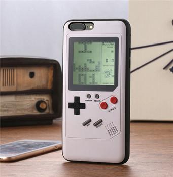 Klasyczne konsole Tetris przenośne odtwarzacze gier etui na telefony dla Iphone X Tetris gra etui na telefony dla Iphone 7 8 6 6S Plus tanie i dobre opinie LisWale