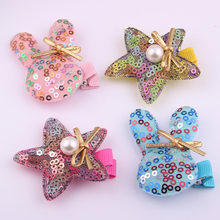 20pcs/lot New arrivals Cartoon alligator  hair clips for baby cute brilliant sequins star barrettes fabric Rabbit hairpins