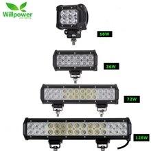 цена на 1/2pcs 18W 36W 72W 108W Led Light Bar Work Lights 12v Spot Flood Combo Beam for Truck Tractor ATV SUV 4X4 4WD Offroad Headlights