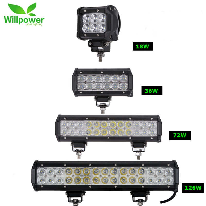 2pcs 18W 36W 72W 108W Led Light Bar Work Lights 12v Spot Flood Combo Beam for Truck Tractor ATV SUV 4X4 4WD Offroad Headlights 11 60w led work light bar for atv 4x4 combo led offroad light bar tractor offroad fog light work light seckill 36w 72w
