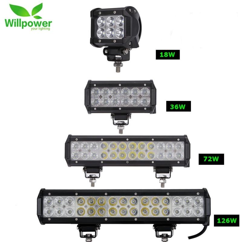 2pcs 18W 36W 72W 108W Led Light Bar Work Lights 12v Spot Flood Combo Beam for Truck Tractor ATV SUV 4X4 4WD Offroad Headlights