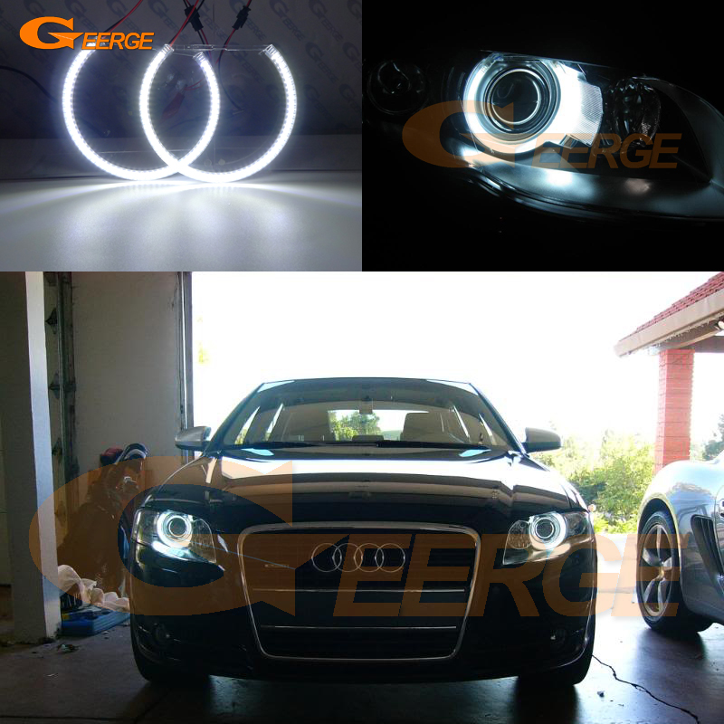 For Audi A4 S4 RS4 2005 2006 2007 2008 2009 Xenon headlight Excellent Ultra bright illumination smd led Angel Eyes kit halo ring фары номерного знака candy 5 18 smd audi audi a4 b8 s4 a5 s5 q5 s tt rs