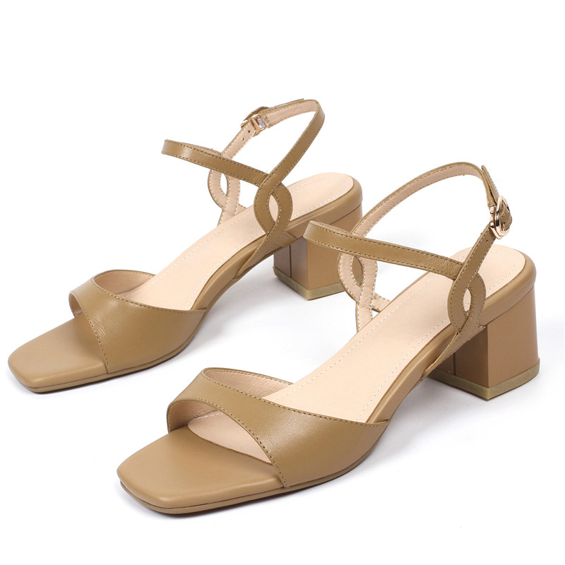 ENMAYER New Cool High Quality Women Heeled Sandals Shoes Women Size 34-39 Summer Open toe  Buckle strap Woman Casual Shoes WHY04
