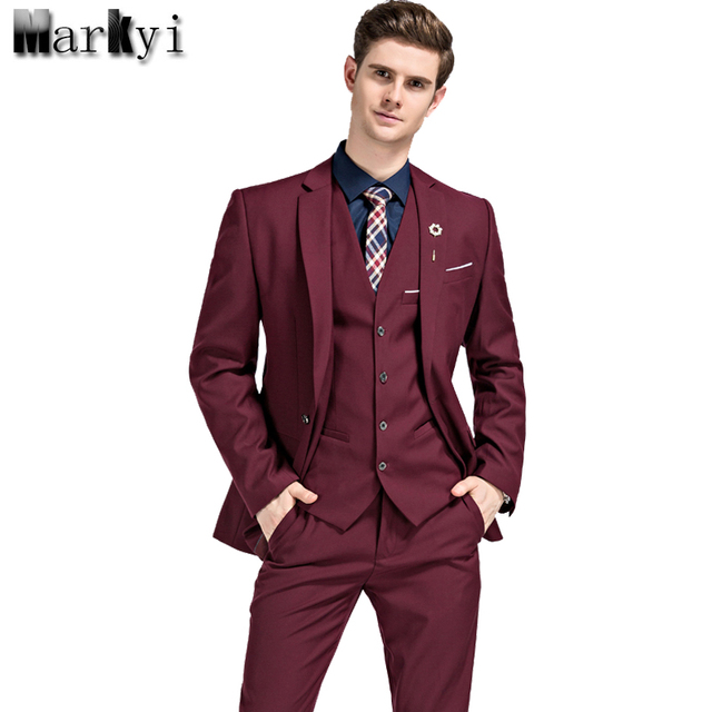 MarKyi 2017 Famous Brand Mens Suits Wedding Groom Plus Size 5XL 3 Pieces(Jacket+Vest+Pant) Slim Fit Casual Tuxedo Suit Male