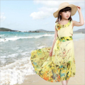 Bohemian girl dress 2016 new summer beach dress chiffon cotton lining sleeveless O-neck floral print long design girls dresses