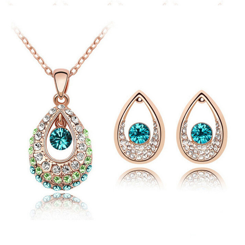 Fashion Bridal Jewelry Sets Hot Sale Classic White/ Gold color Water Drop Crystal Rhinestone
