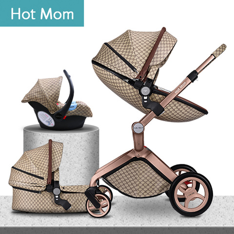 100usd Coupon! 2019 original Hot Mom High Landscape Luxury 3 in 1 baby stroller Newborn carriage folding shock baby pram 0-3 Pakistan