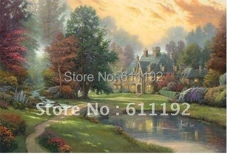 "Thomas Kinkade Art Oil Painting  24""x36''Guaranteed  Free shipping"