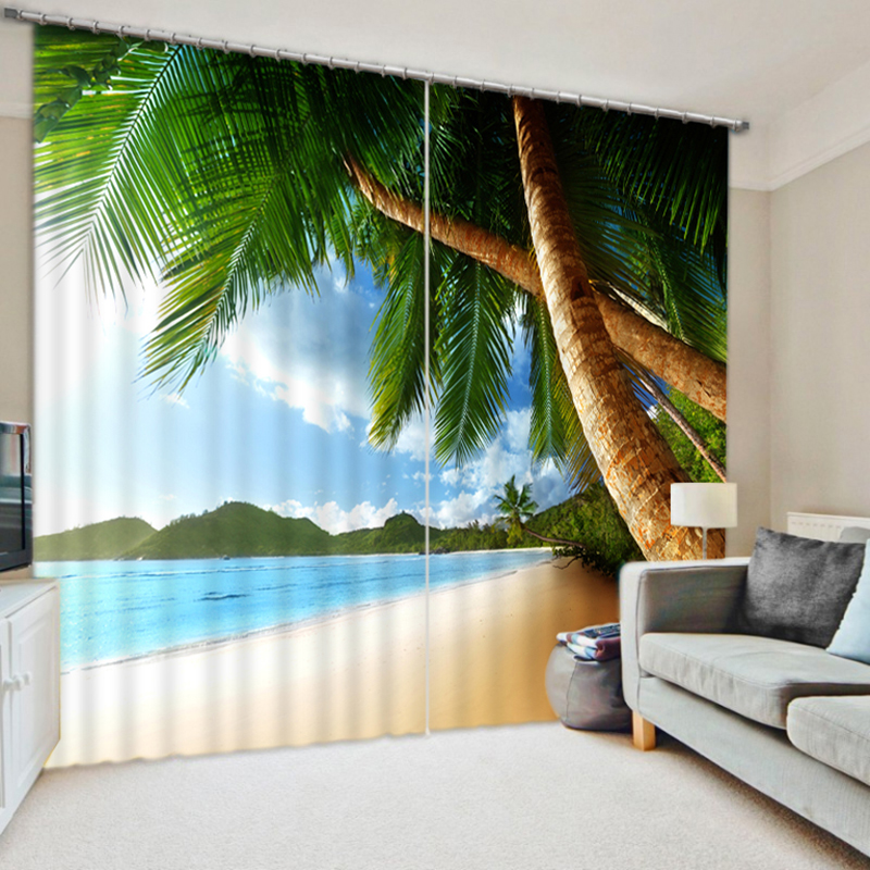 New Cafe Office 3D Blackout Curtains Sea View of the Beach Coconut Trees Pattern Fabric Children