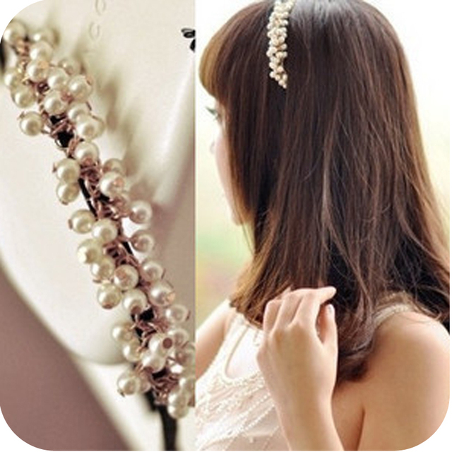 Fashion  beads imitation pearl hair bands hair pin free shipping